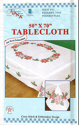 """1 Jack Dempsey """"Poinsettias"""" Stamped Cross-Stitch-Embroidery Tablecloth"""