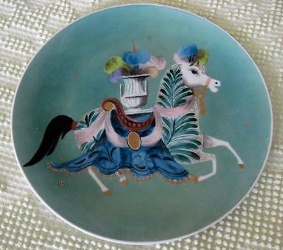"Colorful Hand Decorated 10.25"" Horse Plate Signed Hardy"