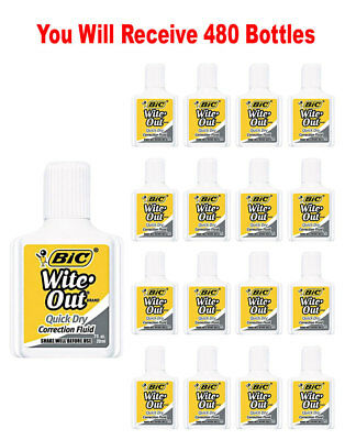 480x BIC Wite Out Quick Dry Correction Fluid White Out Foam Brush .7oz Wholesale
