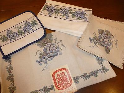 5 Pc NEW HALLTEX Austria LOT Towel Hot Pads Table RUNNER Tiroler Blue GRAPES