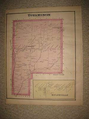 Rare Antique 1877 Towamencin Township Montgomery County Pennsylvania Handclr Map