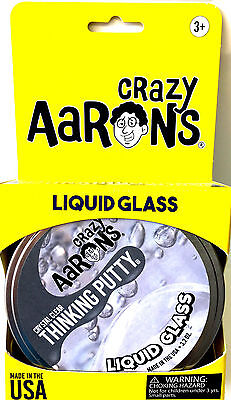 """LIQUID GLASS Putty Large 4"""" Tin 3.2 oz. Crazy Aaron Thinking Crystal Clear Toy"""