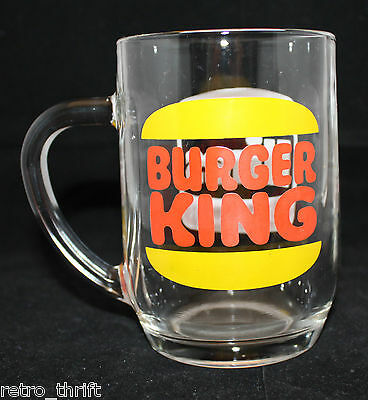 Vintage Burger King Original Hires Root Beer Clear Glass Mug Cup Logo France