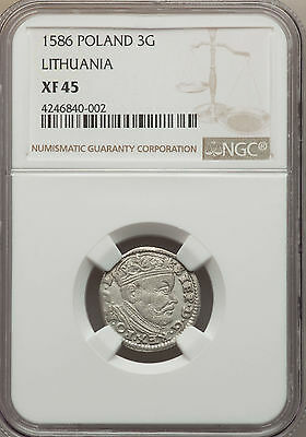 Poland Lithuania Stephan Bathory 3 Groszy (Trojak) 1586 NGC XF45