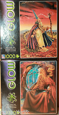 Glow in the Dark 2 x 1000 Piece Puzzle The Grey Wizard + Earth and Fire NEW
