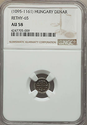 Hungary Medieval Denar ND (1095-1161) Anonymous Type NGC AU58 Rethy-65