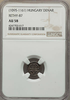 Hungary Medieval Denar ND (1095-1161) Anonymous Type NGC AU58 Rethy-87