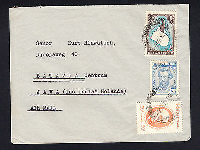 1938 Argentina Netherlands Indies Flight Cover to Batavia Centrum Java 3 Stamps