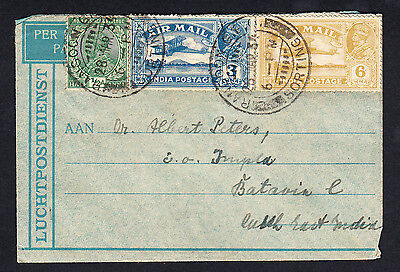 1934 Burma to Netherlands Indies Cover Rangoon to Batavia Centrum Java George V