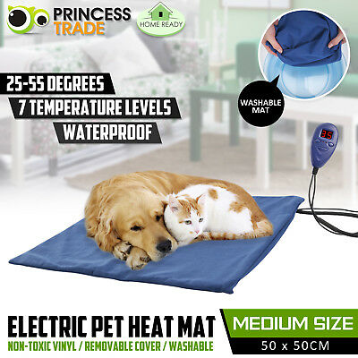Pet Heat Mat Electric Waterproof Warming Pad Thermal Protection Dog Cat 50x50cm