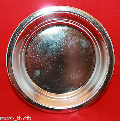 Vintage Kromex Silver Color Metal Round Tray Dish 16.5cm 6.5 inch Made in USA