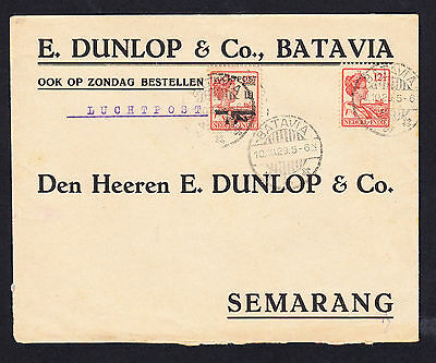 1929 Netherlands Indies Batavia to Semarang Airmail Cover Dunlop & Co