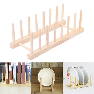 Wooden 7 Section Plate Stand Wood Dish Rack Stand Display Holder Lids Holds Rack