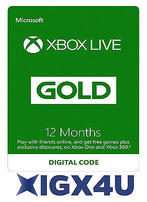 Microsoft Xbox LIVE 12 Month Gold Membership for Xbox 360 XBOX ONE FAST Delivery