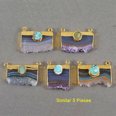 5Pcs Gold Plated Natural Amethyst Druzy & Genuine Turquoise Connector HOT GG0358
