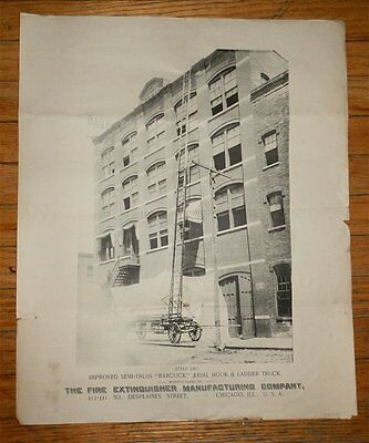 FIRE EXTINGUISHER MANUFACTURING CO BABCOCK AERIAL HOOK AND LADDER TRUCK Ad 1900s