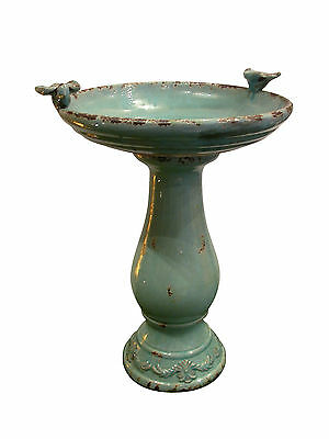 Alpine Antique Ceramic Bird Bath With 2 Birds -Turquoise - TLR102TUR New