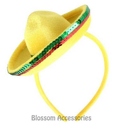A822 Yellow Mini Mexican Hat on Headband Fiesta Party Costume Spanish Sombrero