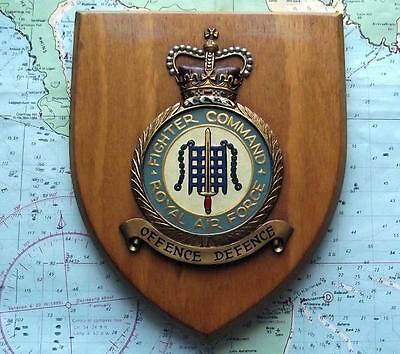 Old RAF Royal Air Force Fighter Command Station Crest Shield Plaque Badge B