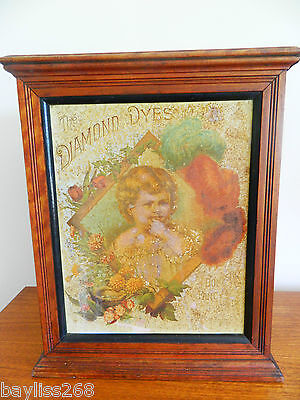 Antique Diamond Dyes Shop Counter Display Cupboard Tin Lithograph Original Label