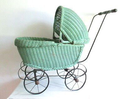 Vintage GREEN DOLL BUGGY 1900's 1910 1920's Pram Stroller Baby Wicker Sculpture