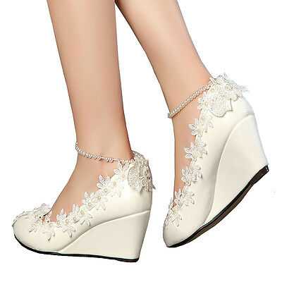 Women Wedge Flowers Pearls Mary Jane Princess Dress  Royal Wedding Bridal Shoes