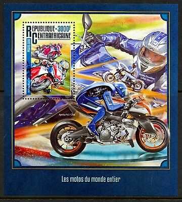 Central Africa 2016 Motocycles Of The World  Souvenir Sheet  Mint Nh