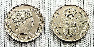 ISABEL II 1 REAL 1859 MADRID SC/UNC/FDC SILVER/PLATA 1,3g. PERFECTA