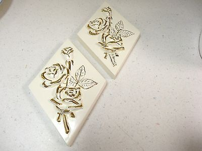 Lot of 2 Vintage  Plaster Flower Plaques, Rose, SIGNED wall hanging diamond