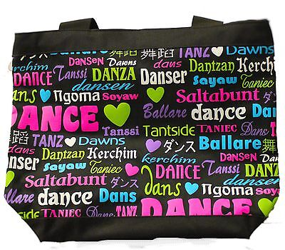 New Dance Bag Danshuz black dance bag with multicolour writting
