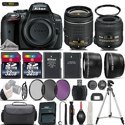 Nikon D5300 Digital SLR Camera + 18-55mm VR + 40mm 2.8G Lens + 64GB - 4 Lens Kit