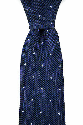 "New CANALI Italy Blue Woven Polka Dot Handmade 3.25"" Silk Neck Tie MSRP $295"