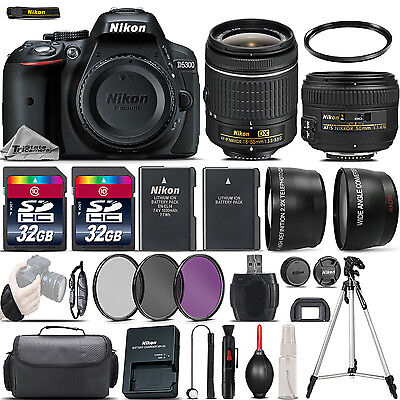 Nikon D5300 Digital SLR Camera + 18-55mm VR + 50mm 1.4G Lens + 64GB - 4 Lens Kit
