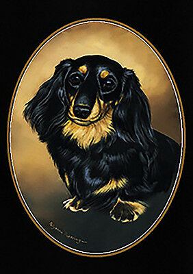 Long Haired Black and Tan Dachshund  Lapel Pin  (Long haired  Doxie)
