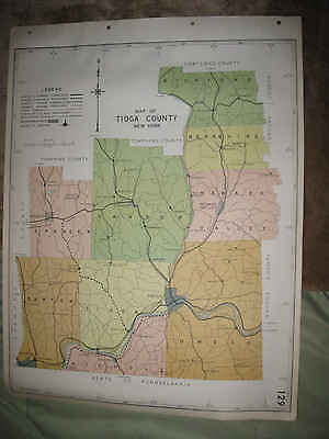 Huge Antique 1941 Tioga County Owego Newark Valley Waverly Spencer New York Map
