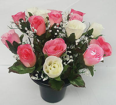 Artificial Flower  Mixed Rose Gyp Grave Pot Arrangement All Round Pink Ivory