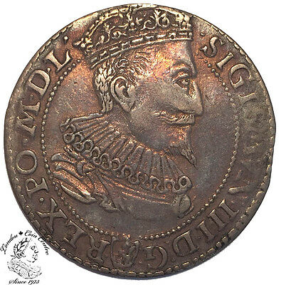 Poland Sigismund III Szostak (6 Groszy) 1596 Small Bust - R1 - Colorful Toning