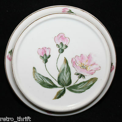 Vintage Bing and Grondahl B&G Porcelain Replacement Lid White Pink Flowers AS-IS