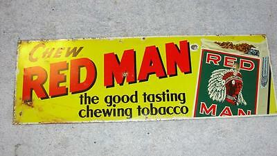 """Vintage Metal Red Man Chew Chewing Tobacco Advertising Sign 5"""" x 15"""" Yellow"""