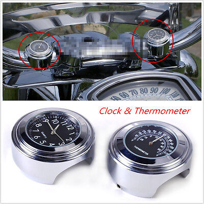 "2pcs 7/8"" 1"" Motorcycle Handlebar Temperature Gauge Thermometer Black Dial Clock"