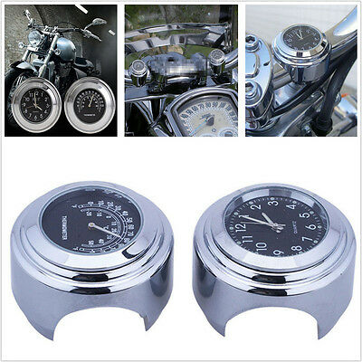 "For Harley 7/8"" 1"" Motorcycle Handlebar Black Dial Clock Temp Thermometer Gauge"