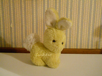 Eden vintage plush musical yellow bunny rabbit tail moves with music wind up