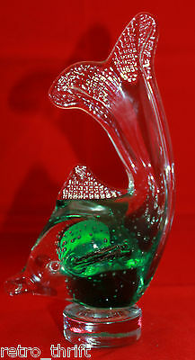 Arte Murano Italian Art Glass Green Clear Fish 21cm 8.25 inch Figurine Figure