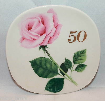 Arabia Finland Red Cross Square Pink Rose Small Wall Plate Decor 50 Anniversary