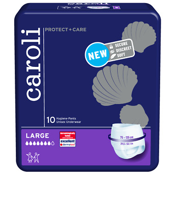 Caroli Adult Pull Up Pants Incontinence Nappies - Pack of 10 Large