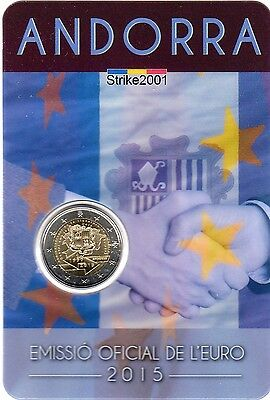 Coin Card 2 EURO COMMEMORATIVO ANDORRA 2015 Accordo Doganale U.E.