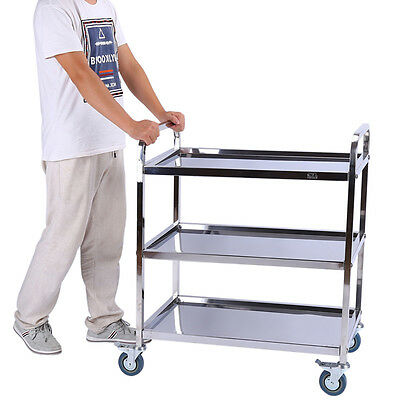 Vogue 3 Tier Clearing Hotel Trolley Large 900X850X450mm Stainless Steel Catering