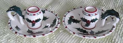 Lefton China Holly with Touches of Candy Cane Red Candlesticks #033  #2