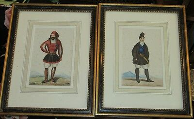 Pair of Antique 18C Italian Watercolor Paintings of Cavalry Men