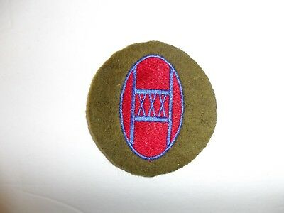 b8821 US Army 1930's 30th Infantry Division patch OD wool mchn emb variation
